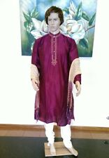"40"" Medium 100cm Silk Sherwani Suit Indian Bollywood Mens Kurta Plum Purple Suit"