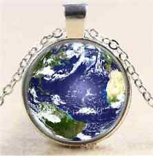 Mother Earth Photo Cabochon Glass Tibet Silver Chain Pendant Necklace