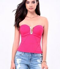 NWT bebe hot pink strapless deep v neck embellished bustier dress top S small 4
