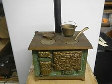 Antique Novelty Cast Iron Tin Metal Toy Stove Salesman Sample + Accessories