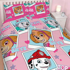 PAW PATROL 'STARS' DOUBLE Pink DUVET QUILT COVER SET GIRLS KIDS BEDROOM SKYE