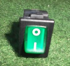 ILLUMINATED GREEN ROCKER SWITCH ON / OFF 10A 12V SPST