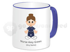 Personalised Gift Nurse Mug Cup Present Idea(Navy Top/Trousers, White Trim) Blue