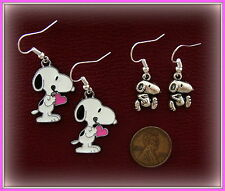 TWO Pair!  Peanut's SNOOPY Earrings - Charlie Brown's Dog SNOOPY Jewelry