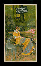 Pretty Lady With Her Greyhound In Park-Victorian Trade Card