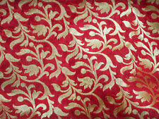 Beautiful banarsi blended silk brocade floral design fabric in Red and Gold