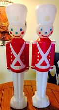 "Vintage 31"" Set Of 2 Christmas Soldier Blowmold Empire Toy Nut Cracker Blow Mold"