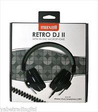 Maxell Retro Dj Ii eaphones Auriculares Marco De Acero En Espiral Cable en línea Mic nuevo