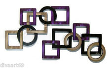 HUGE Purple & Tan Contemporary Geometric Square Wall Sculpture Wall Hangings
