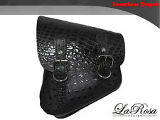 La Rosa Harley Softail Rigid Black Alligator Design Leather Left Saddle Bag