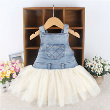 Retro Kids Baby Girls Clothes Summers Denim Tulle Dress Sleeveless Party Tutu