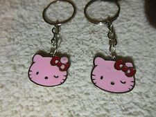 "Hello Kitty "" Light Pink / silver tone"" Keychain Ring** Lot-of-2** Free Shipping"