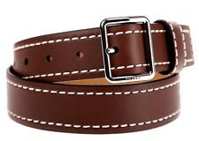 2NEW PRADA BRUCIATO BROWN DURABLE LUXURY LEATHER PALLADIUM BUCKLE BELT 105/42