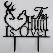 The Hunt Is Over Stag & Deer Heart Acrylic Wedding Day Cake Topper Silhouette
