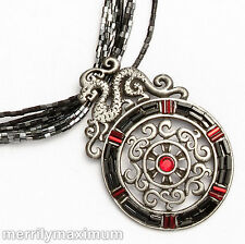 Chico's Signed Silver Tone Necklace Dragon Medallion Black Red Accents