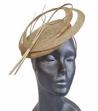 Swan, Designer Women's Derby, Wedding, Metallic Sinamay Fascinator- Natural