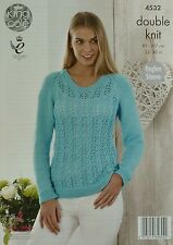 KNITTING PATTERN Ladies Long Sleeve Round Neck Lace Jumper DK 4532