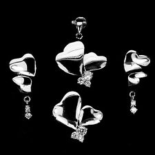 WOW! CUBIC ZIRCONIA STERLING 925 SILVER Heart Earrings Ring Pendant Jewelry SET