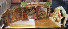 3 OLD VINTAGE FOLD OUT POP UP 3D CHRISTMAS NATIVITY SCENES CARDS DIAROMAS LOT