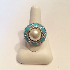 JOAN BOYCE Faux Pearl/White Crystal and Enamel Ring Size 8