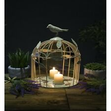 Cream Bird Cage Candle Holder Mirror Shabby Chic Ornament Vintage Style