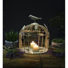 Crema jaula de pájaro Sostenedor de Vela Espejo Shabby Chic Ornamento Estilo Vintage