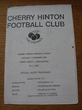 07/09/1991 Cherry Hinton v Bassingbourn  (Light Crease, Tiny Mark)