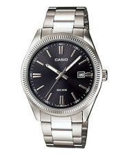 Casio Analog 50m Water Resistant Date display Stainless Steel MTP1302D-1A1 BLACK