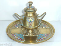 ART NOUVEAU FRENCH INKWELL BRONZE ENAMEL CHAMPLEVE CLOISONNE FOUNTAIN DIP PEN