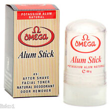 Omega Alum Stick, After Shave Facial Toner, Deodorant,  natural potassium alum
