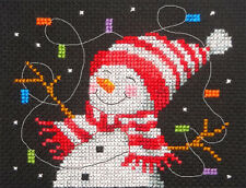 Snowman & Christmas lights, Xmas ~ Full counted cross stitch kit, all materials