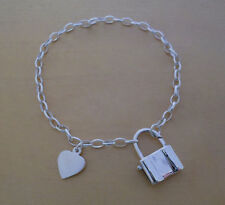 "925 STERLING SILVER OVAL LINKED CHAIN  CHARM BRACELET 7.5"" WITH HEART & PADLOCK"