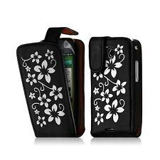 Housse coque étui pour Samsung Galaxy Teos i5800 motif fleurs couleur noir + fil