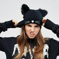 Girl Women Cat Fashion Punk Ear Crochet Knit Beanie Hat Cap Winter Warmer Black
