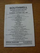 29/10/1981 Horse Racing: Racecard - Southwell