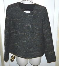 NWT GERARD DAREL Womens Ocean Blue Tweed Wool Zipper Classic Jacket Coat 38