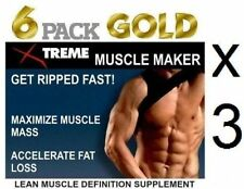 3x Lean Muscle Pills Pro Growth Builder Abs Bodybuilding Tablets X Ripped Mass