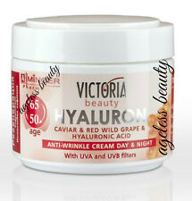 ANTI-WRINKLE FACE CREAM; CAVIAR HYALURONIC ACID RED GRAPE UVA UVB Day Night 50ml