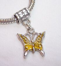 Yellow Enamel Butterfly Bug Dangle Bead for Silver European Style Charm Bracelet