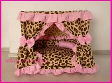 Charm Princess Pet Dog Cat Handmade Bed House Leopard Pink Color Size Small