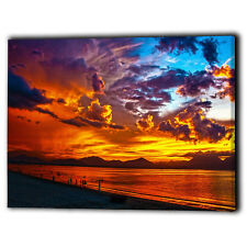 Beach Sunset Canvas Framed Panel Sea Water Sky Clouds - New Wall Art Prints Gift