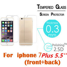 Real Tempered Glass Film Screen Protector Saver Front & Back for iPhone 7 Plus