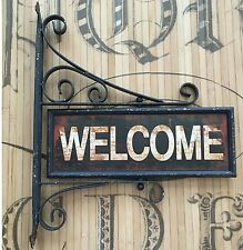 Welcome Go Away Swivel Sign Vintage Reproduction Iron Wall Metal Vintage