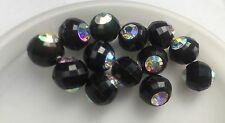 Vintage German Black Disco Faceted Clear AB Rhinestone Insert Lucite Bead Lot