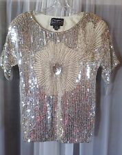 NWT NEW Lady Small Silver Sequins Silk Blouse Top Woman S 4 6 Lined Beading SS S