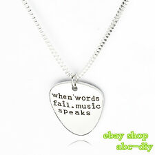 Custom 1PC when words fail music speaks Pendant Necklace Fashion Jewellery Gift