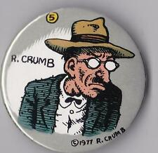 "R. CRUMB GRUMPY SELF-PORTRAIT FEDORA HAT  PINBACK BUTTON 2-1/4"" DIA. 1977"