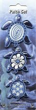 BLUE TURTLES: 3 MINI PATCH SET Embroidered Iron On Assorted Sea Tortoise Hawaii