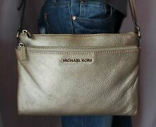 MICHAEL KORS Small Bronze Silver Leather Shoulder Hobo Tote Cross Body Purse Bag