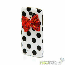 Polka Dot & 3D Bow Rhinestone Diamond Bling Crystal Case Samsung Galaxy S4 i9500